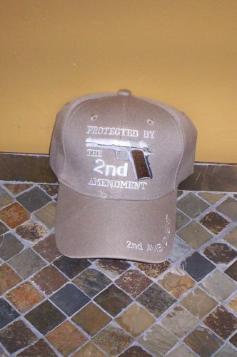 Protected By The 2ND Amendment Mens Tan Hat Embroidered Ball Cap New w/Tags