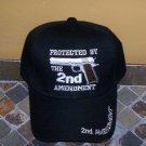Protected By The 2ND Amendment Mens Black Hat Embroidered Ball Cap New w/Tags