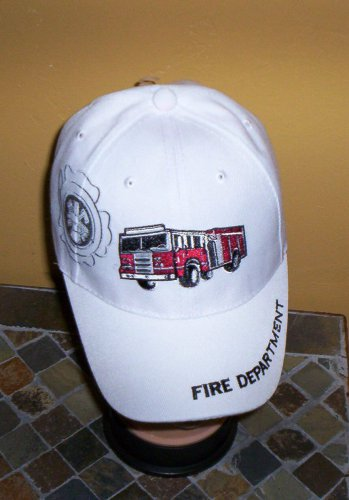 Boys Kids White Embroidered FIRE TRUCK Hat Ball Cap Child Hat New w/Tags!