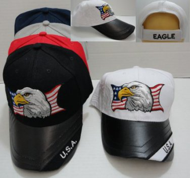 Black USA Eagle Hat Ball Cap Leathery Bill Embroidered Eagle New!