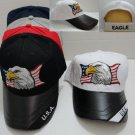 White USA Eagle Hat Ball Cap Leathery Bill Embroidered Eagle New!