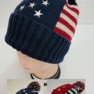 Blue Americana Toboggan Thick Warm Winter Hat with Pom Pom New!
