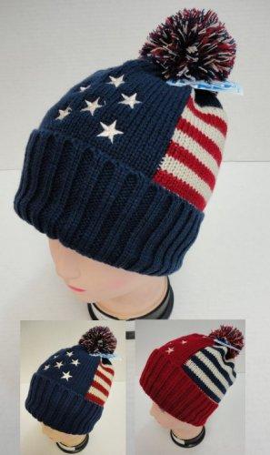 Blue Americana Toboggan Thick Warm Winter Hat with Pom Pom New!