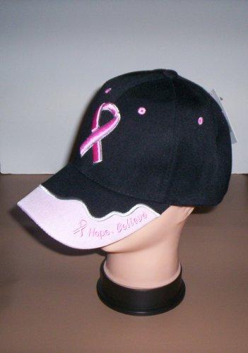 Ladies Black Hope Believe Breast Cancer Awareness Hat Ball Cap New!