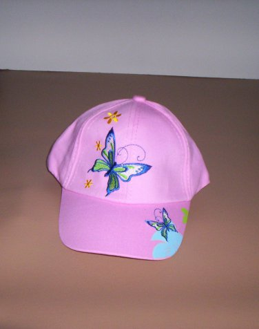 Girls Pink Embroidered Butterfly Hat Ball Cap New!