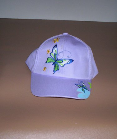 Girls Lavender Embroidered Butterfly Hat Ball Cap New!