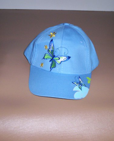 Girls Blue Embroidered Butterfly Hat Ball Cap New!