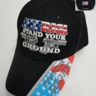 """America Stand Your Ground"" It's Your Right Men's Black Hat Ball Cap New!"
