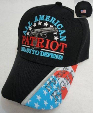 """""""All American Patriot"""" Ready To Defend Mens Black Hat Ball Cap New!"""