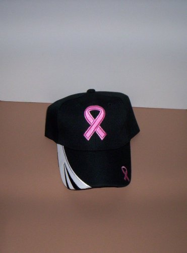 Ladies Black Breast Cancer Awareness Hat Ball Cap New!