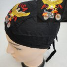 Embroidered Black Du Rag USA Eagle w/ Motorcycle Bike Skull Cap New!