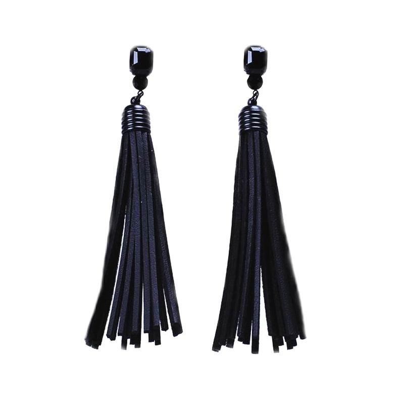 Long Pu Leather Tassel Earrings