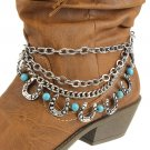 Boot Chain Western Horseshoe Stone Turquoise Silver New!