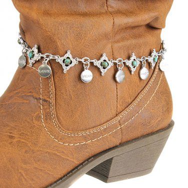 Boot Chain Charms Stone Bead Silver Turquoise New!
