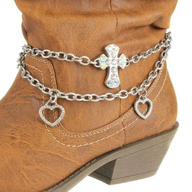 Boot Chain Charms Cross Heart Crystal Silver New!