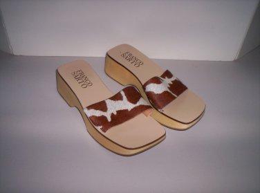 Wood & Cow Hide Sandals Women�s Size 6M Like New!