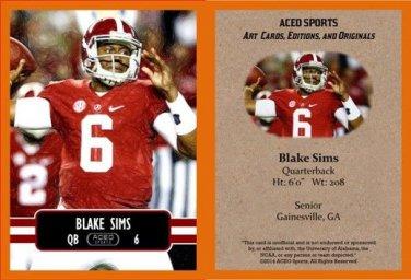 Blake Sims 2014 ACEO Sports Football Card - Alabama