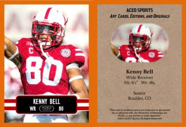 Kenny Bell  2014 ACEO Sports Football Card - Nebraska Pre Rookie RC Tampa Bay Buccaneers Bucs