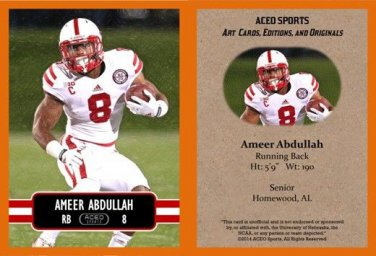Ameer Abdullah 2014 ACEO Sports Football Card Nebraska Pre Rookie RC Detroit Lions