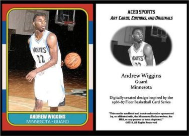 Andrew Wiggins 1986-87 Fleer Style ACEO Card Rookie RC Minnesota Timberwolves