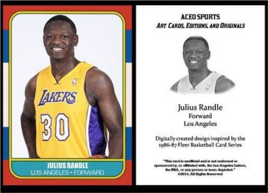 Julius Randle 2014 1986-87 Fleer Style ACEO Card Rookie RC Los Angeles Lakers