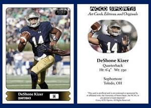 DeShone Kizer NEW! 2015 ACEO Sports Football Card - Notre Dame Fighting Irish QB