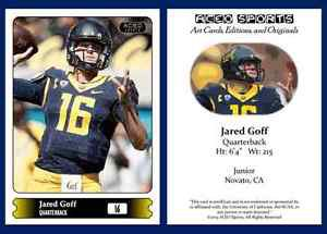 Jared Goff NEW! 2015 ACEO Sports Football Card - California Cal Golden Bears QB