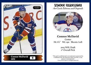 Connor McDavid 2015 ACEO Sports Hockey Update Card - Edmonton Oilers Rookie - RC