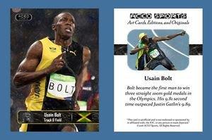 Usain Bolt NEW! ACEO Sports Card 2016 Rio Olympics Jamaica 100m Track & Field