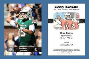 Brad Kaaya NEW! 2016 ACEO Sports Football Card - Miami Hurricanes - QB