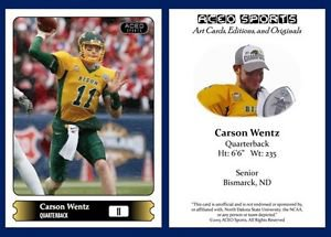 Carson Wentz Pre-RC 2015 ACEO Sports Card North Dakota State Philadelphia Eagles