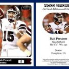 Dak Prescott 2015 ACEO Sports Football Card - Pre Rookie RC Dallas Cowboys MSU