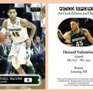 Denzel Valentine 2015-16 ACEO Sports Pre-RC Card Michigan State Chicago Bulls