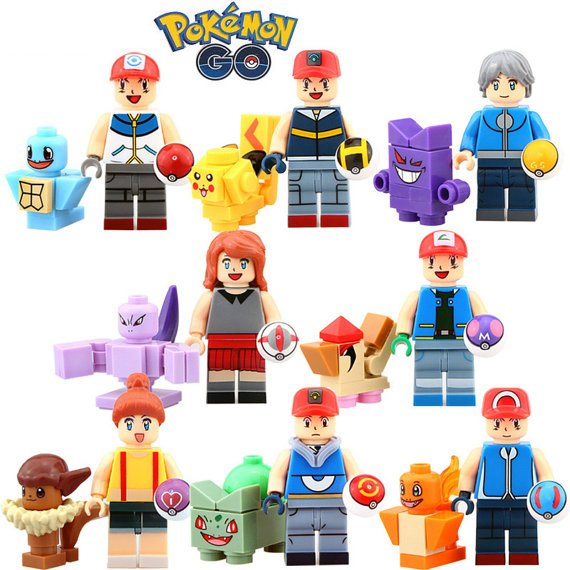 Pokemon Go custom minifigures Lego compatible set of 16, Pikachu, Pokemon gift