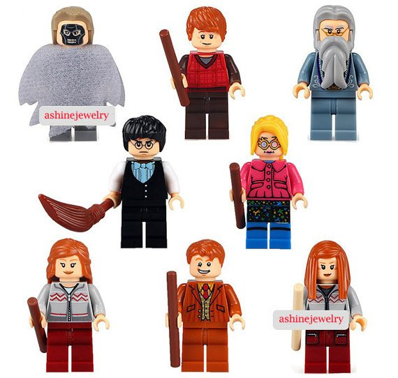 Harry Potter custom set of 8 minifigures Lego compatible, Dumbledore, Death Eater, Hermione, Ron