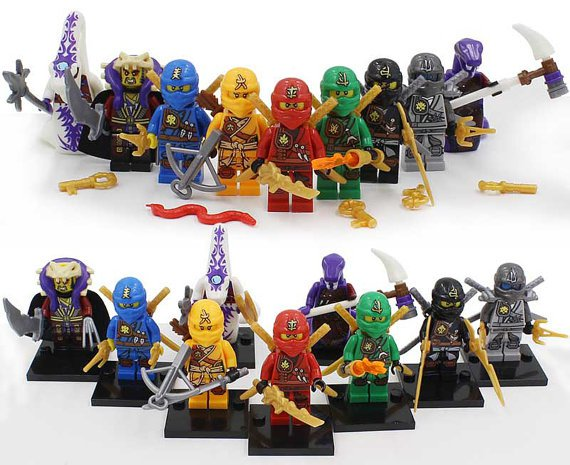 Custom set of 9 minifigures Lego ninjago compatible, Lloyd, Kai, Jay, Cole, Zane, Pythory