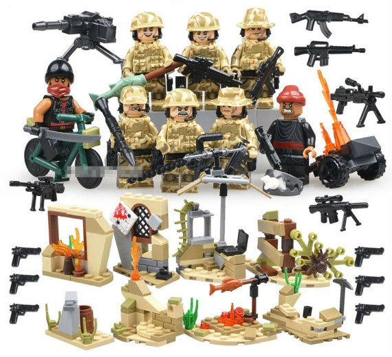 Military set of 8 minifigures Lego compatible, 6 commando army falcon swat soldiers & 2 terrorists