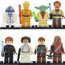 Star Wars custom set of 8 minifigures Lego compatible, Yoda, R2D2, princess Leia, Obi-Wan, Anakin