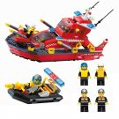 City Rescue Fire Fighter Boat Ship Fireboat Fireman Station Lego Compatible Toy
