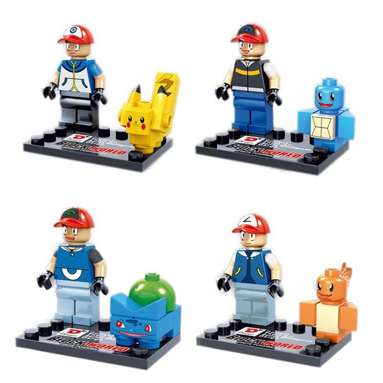 Lego Compatible Pokemon Go Ash Anime Pikachu Squirtle Charmander Minifigures