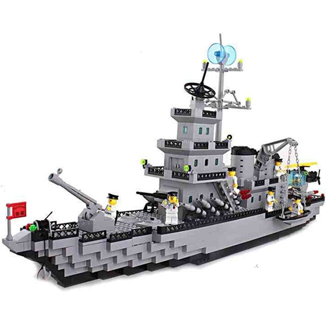 Lego Compatible Toy Army Navy Battleship Destroyer Ship with Cannon