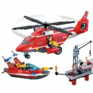Lego City Compatible Rescue Fire Fighter Helicopter Ship Oil Rig Station