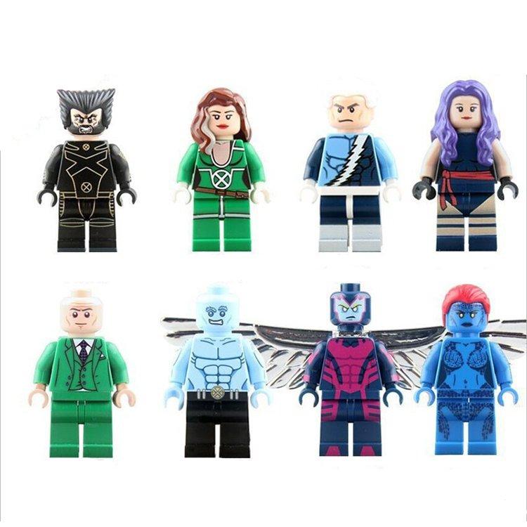 X-Men Professor X Mystique Wolverine Iceman Rogue Minifigure Compatible Toy