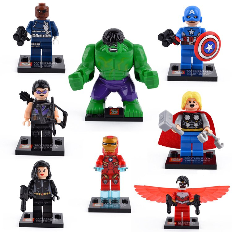 Super Hero Marvel Ironman Hulk Black Widow Minifigures Lego Sets Compatible