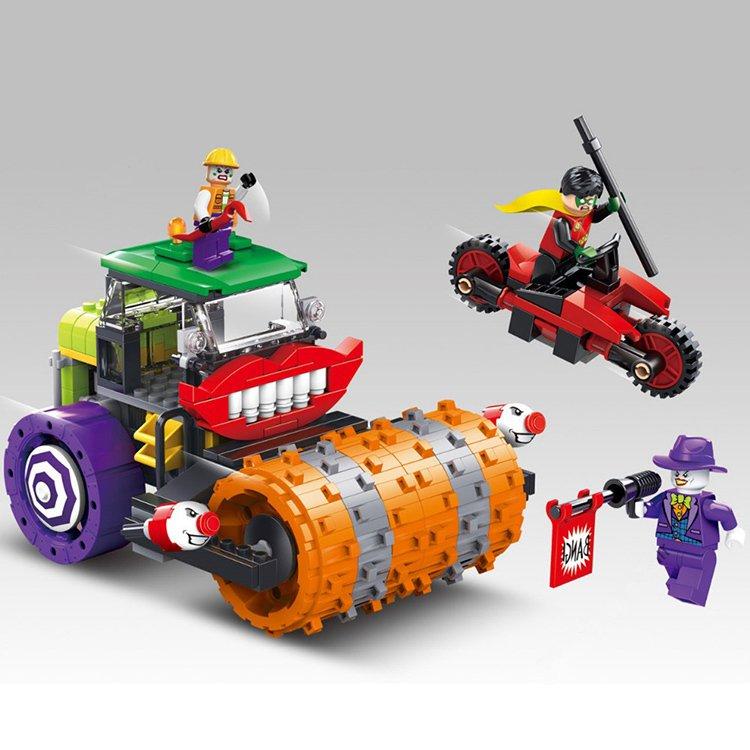 Lego Compatible DC Batman Robin Joker Steam Roller Rampage Truck Motorbike