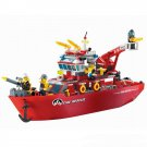 Lego Compatible City Rescue Fire Fighter Fireboat Ship Boat Fireman Navy