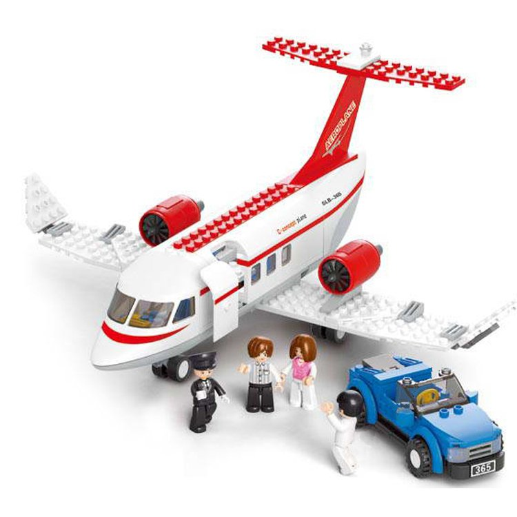 Sluban City Airport Passenger Flight Plane Jet Aircraft Crew Lego Compatible Toy