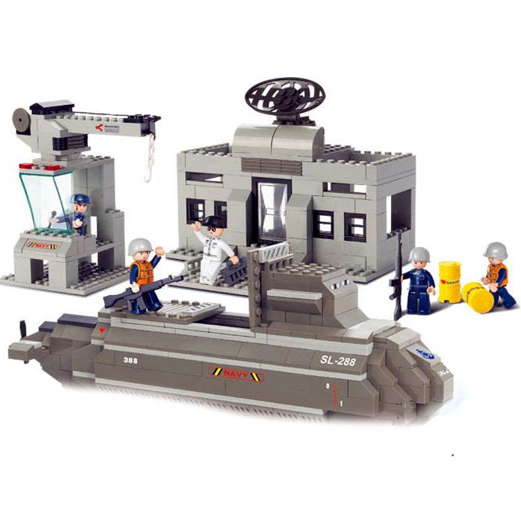 Lego Compatible Army War Submarine Harbor Wharf Military Base Sailor