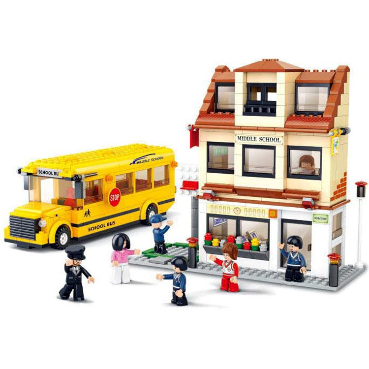 Education School College Bus Student Passenger Figure Lego Compatible Toy