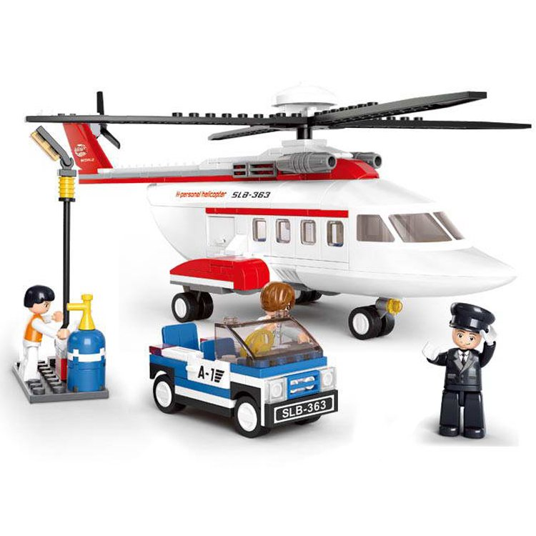 City Town Airport Helicopter Cargo Gas Station Plane Lego Compatible Toy